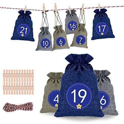 Qxmcov 24 Adventskalender zum Befüllen, Adventskalender Jutesäckchen mit 24 Mini-Holzklammern und 10m Jute Hanfseile, Weihnachten Geschenktüten DIY Stoffbeutel Weihnachtskalender Tüten für Kinder