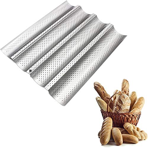 WOTOOYER Französisches Brot Backform Brot Wellenbackblech, Antihaft-pfanne 3/4 Rillenbrot Backwerkzeuge Geeignet Für Französisches Brot Backen, 4 Wellen Brotform Backen (Silver 4 Slots)