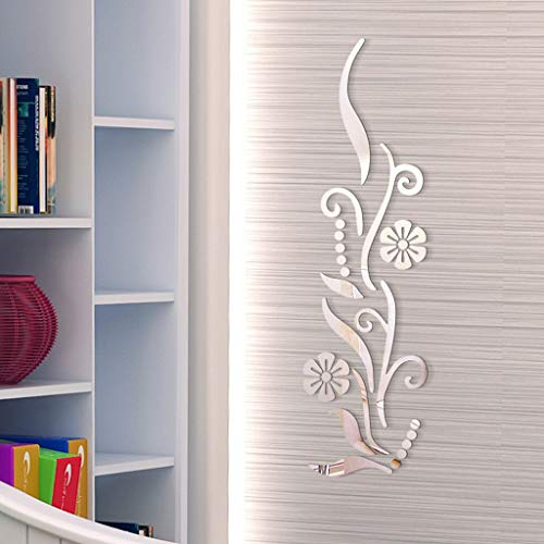 BEVAN Wall Stickers - Flower Bathroom Acrylic Mirrored Decorative Sticker Wall Art Mirror secor Room Living Room Bedroom TV Wall Home Decals Decor - by 1 PCs