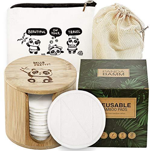 Panda Bamm- Reusable Makeup Remover Pads Multi-pack, 16 pcs - Zero Waste Reusable Cotton Rounds, Bamboo Storage Jar for Reusable Cotton Pads, Eco Friendly Travel Bag, Laundry Bag