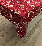 1kdreams mantel navideño de algodón con diseño elegante y moderno, fondo rojo, estilo shabby chic en clave moderna, fabricado en italia (130 x 320 cm)