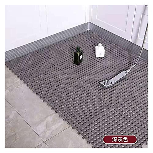 Fußmatte Badmatte rutschfeste Spleißbodenmatte Haushalt PVC Badmatten WC-Teppich Wasserdichteteppiche Drainage-Badezimmer-Teppich (Color : Draw Grey, Specification : 30x30cm 4pieces)