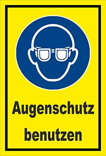Stickers schild - Bodstekens - oogbescherming gebruiken - komt overeen met DIN ISO 7010/ASR A1.3 – S00361-008-C +++ verkrijgbaar in 20 varianten. 15x10cm - Aluverbundplatte - ohne Bohrlöcher