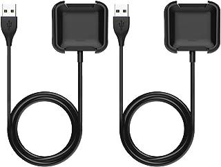 Fitbit versa2 チャージケーブル ATiC USB充電ケーブル 充電スタンド 低発熱 軽量 小型 高耐久 2つセット Fitbit versa2のみに適用 Black