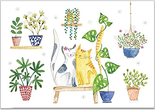Carte gaufrée avec enveloppe - Papier de qualité supérieure et magnifiques motifs pour toutes les occasions telles que naissance, communion, anniversaire et Noël (amoureux des chats).