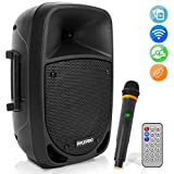 800W Portable Bluetooth PA Speaker - 8'' Subwoofer, LED Battery Indicator Lights w/ Built-in Rechargeable Battery, MP3/USB/SD Card Reader, and UHF Wireless Microphone - Pyle PSBT85A