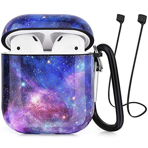 CAGOS Compatible with Airpods Case, 3 in 1 Cute Airpods Protective Hard Case Galaxy Cover Portable & Shockproof Women Girls with Keychain/Strap/Earhooks for Airpods 2/1 Charging Case (Dark Purple)
