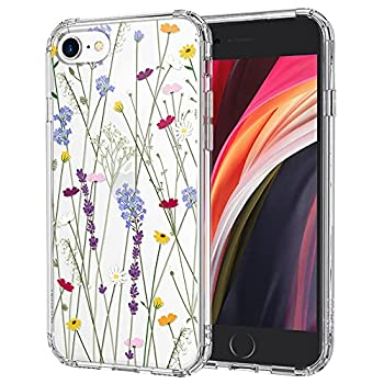MOSNOVO Wild Flower Garden Pattern Clear Design Transparent Plastic Hard Back Case with TPU Bumper Protective Case Cover for iPhone 7/ iPhone 8/ iPhone SE  2020