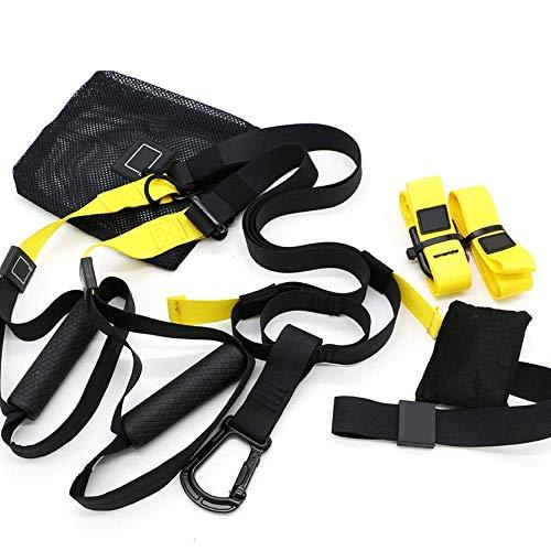 Smile Kit Cinghie Resistenti al Peso corporeo, allenamenti Professionali per Palestra per Interni, Viaggi e Outdoor. Muscoli Magri, Forza del Core,Giallo