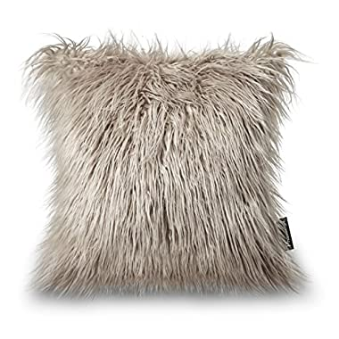 PHANTOSCOPE Decorative New Luxury Series Merino Style Beige Faux Fur Throw Pillow Case Cushion Cover 18  x 18  45cm x 45cm