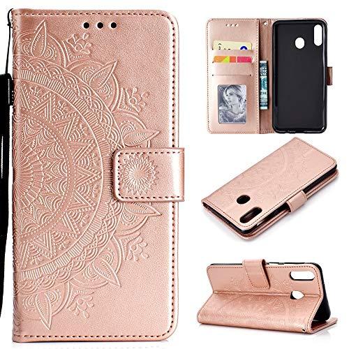 CoverKingz Handyhülle für Huawei P40 Lite E - Handytasche mit Kartenfach P40 Lite E Cover – Handy Hülle klappbar Motiv Mandala Rosegold