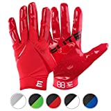 EliteTek New All RED RG-14 Football Gloves Youth and Adult (Red, Youth L)