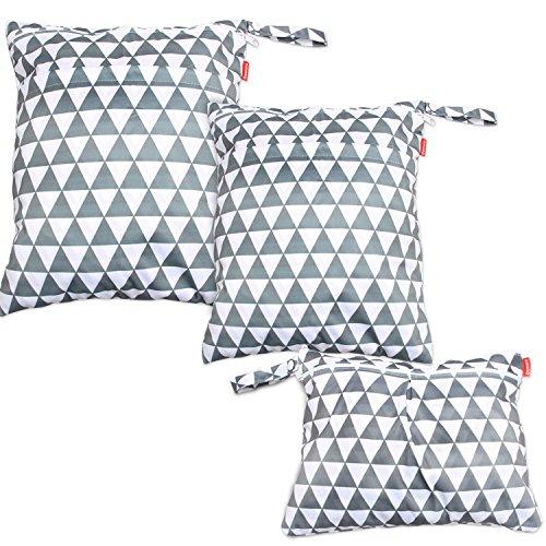 Damero 3 stuks/set luiertas met herbruikbare stof wetbag vochtige doekjes organiser zak, grijze driehoek