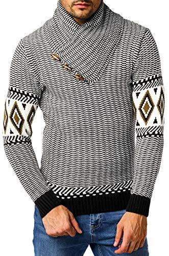 Leif Nelson gebreide trui voor heren, pullover voor winter, winterpullover, Norweger, sjaalkraag, slim fit, lange mouw, grof gebreide trui met lange mouwen LN5915