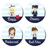Polarkind 4 er Buttons Set Hochzeit JGA Standesamt Polterabend mit Bride Groom Best Man Bridesmaid 38 mm Handmade Mitbringsel Namenschild
