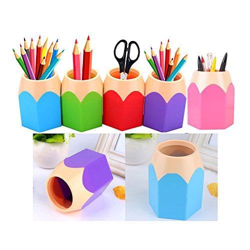 Flybuild Lot de 5 Assortd Couleur Stylo Vase Pot à crayons Maquillage Brosse Support Organiseur de bureau papeterie organiseurs Blue,Green,Pink,Purple,Red