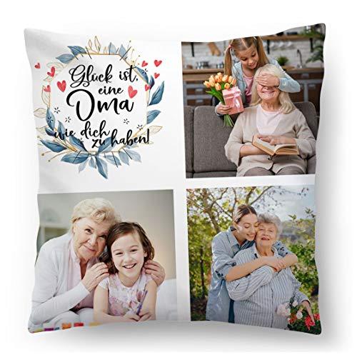 Personalisiertes FOTOGESCHENK mit eigenem Foto (45 x 45 cm) Foto-Kissen mit Deinem Foto & Text Bedrucken Zum Jahrestag, Omatag, Geburtstag (mit Füllung) Glück ist eine Oma zu haben [091]