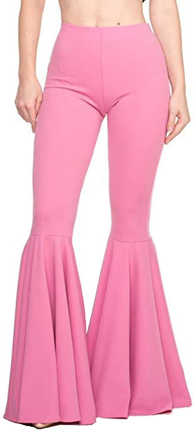 Women's Casual Pleated Flared Pants High Waist Ruffle Mermaid Bell Bottom Trousers Solid Color Flare Casualpants (3X-Large,Pink)