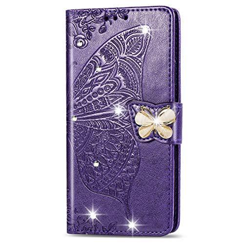 HMTECH Huawei Y6 2019 HulleHuawei Y6 2019 Handyhulle Pragung Diamant Schmetterling Blumen Flip Case PU Leder Cover Magnet Schutzhulle Handytasche fur Huawei Y6 2019SD Bling Butterfly Dark Purple