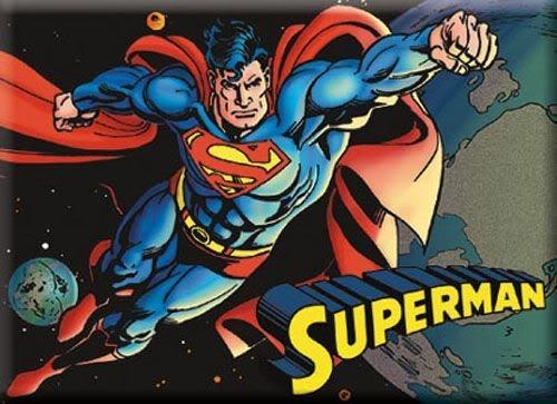 Superman volando en el espacio del imán del refrigerador de ata-Boy