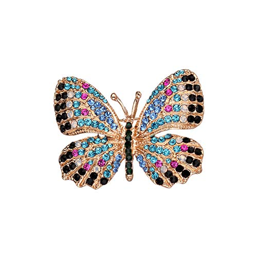 Jones New York Gold Butterfly Black Purple White Blue Rhinestones Brooches and Pins