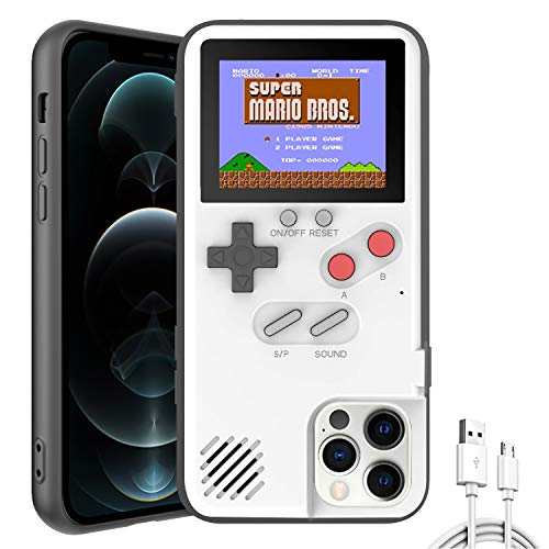 Autbye Gameboy Case for iPhone, Retro 3D Design Style Silicone Protective Case with 36 Small Games, Color Display Shockproof Video Game Phone Case (for iPhone 11, White)