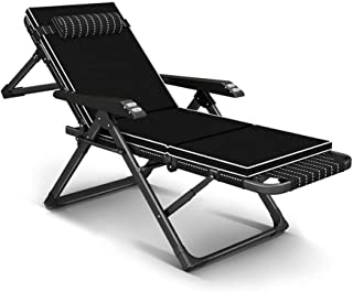 KEOA リクライニングチェア 無重力チェア 折りたたみ アウトドア サンラウンジャー 庭の家具 キャンプチェア オフィス リラックス チェア ラウンジチェア デッキ芝生キャンプ-B 黒
