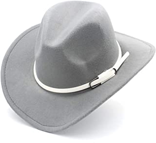 SHENTIANWEI Men Women Western Cowboy Hat with White Leather Belt Pop Wide Brim Jazz Hat Sombrero Hat Adult Church Hat Size 56-58CM