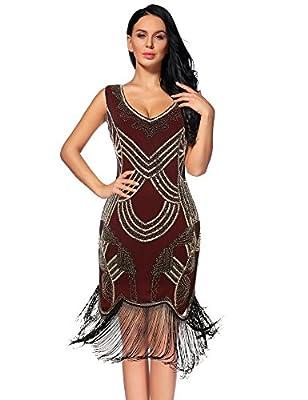 Women's 1920s Gatsby Dress V Neck Sequin Beads Fringed Cocktail Hem Flapper Dress