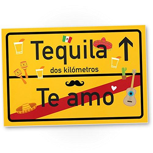 DankeDir! Te amo Tequila Kunststoff Schild kleines persönliches Geschenk für sie - süße Deko Wanddeko Schoko Türschild Mädchen Wohnung Zimmer Geschenkidee Geburtstagsgeschenk beste Freundin Party Deko