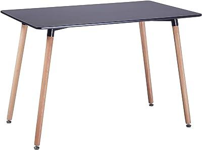 EGGREE Table à Manger en Bois Rectangulaire Table Scandinave Design Table de Cuisine pour 2 4 Personnes,110x70x72cm Noir