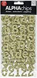 me & my BIG ideas Alpha Chips Designer Chipboard Letter Stickers, Rockwell Alphabet Gold Glitter