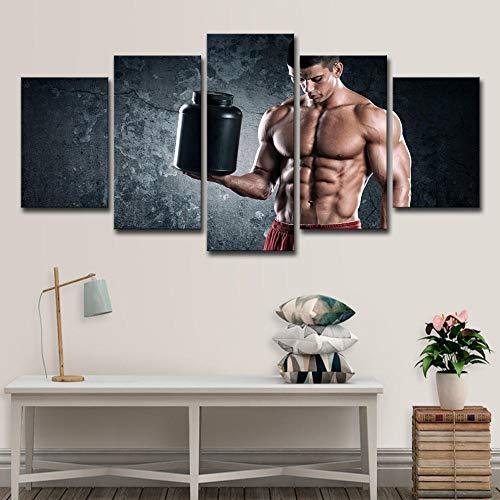 Fitness Wandkunst, Männlichen Muskelbauch Auf Cavnas Drucke Schönheit Dekoration Leinwand Malerei (Größe: 40X60Cmx2 40X80Cmx2 40X100Cmx1 / Ungerahmt)