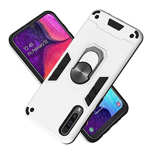 Hülle für Samsung Galaxy A50S mit Standfunktion, PC + TPU Rüstung Defender Ganzkörperschutz Hard Bumper Silikon Handyhülle stossfest Schutzhülle Case (Silber)