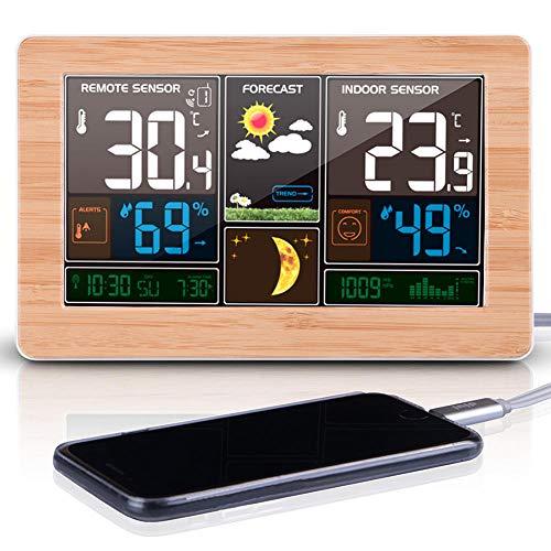 Multifunctionele weerklok Houtnerf bamboe oppervlaktethermometer Hygrometer LED-scherm Wekker USB oplaadklok Kalender Huishouden