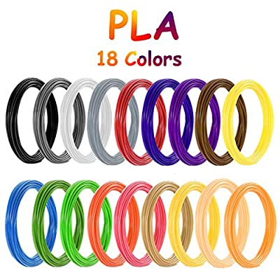 3D Printing Pen Filament PLA, Vibury 18 Colors 3D Pen Printing Material Refills 1.75mm 9.8 Feet per Color Total 177 Feet for Most Intelligent 3D Pen