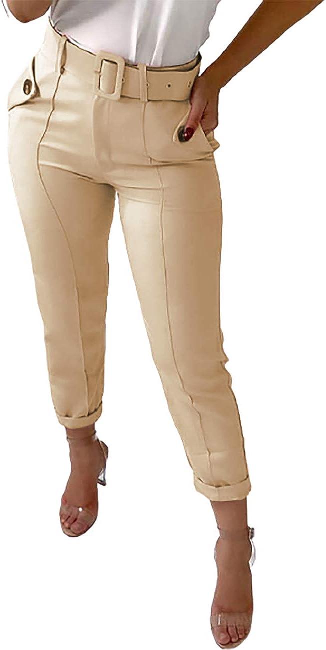 Senggeruida Women Fashion Pocket Design Buttoned Casual Pants