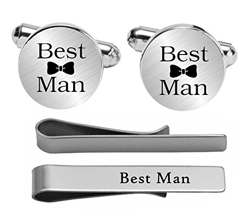 Kooer Best Man Cufflinks Custom Personalized Wedding Engraved Cuff Links Tie Clip Set Engrave Wedding Cufflinks (Bestman set)
