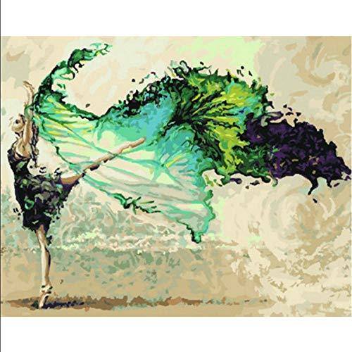 not cxtnt Pintura por números Bailarina de Ballet para Colorear por números Kits Pintados a Mano Dibujo Lienzo Fotos Figura decoración para el hogar