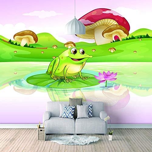 Bilder Leinwand Wandbild Wohnzimmer - Frosch- Wandbilder 3D Natürliche Landschaft Modern Büro Kino Hotel Korridor Wandgemälde Für Schlafzimmer Wandtapete Fototapete 450X300Cm