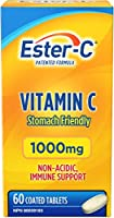 Ester-C Vitamin C, 1000mg Coated Tablets, Non-Acidic, Immune Support, 60 Count