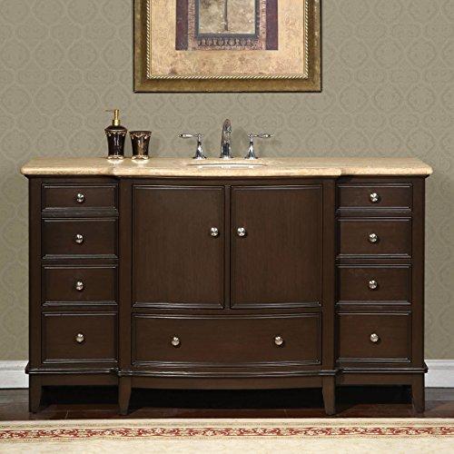 Silkroad Exclusive HYP-0237-T-UWC-60 Gorgeous Bathroom Travertine Top Single Sink Vanity Lavatory Cabinet, 60', Dark Wood