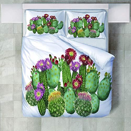 yzrose Bettwäsche Bettbezug Buntes und schönes modernes Kaktus-Polyester-Bettbezug-Blatt-Deckbett-Bettwäschesatz-140x200