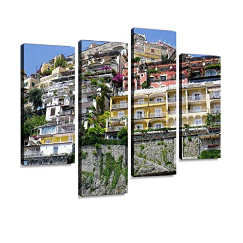 Positano amalfis and Pictures Canvas Wall Art Hanging Paintings Modern Artwork Abstract Picture Prints Home Decoration Gift Unique Designed Framed 4 Panel