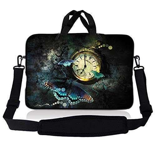LSS 13.3 inch Laptop Sleeve Bag Carrying Case Pouch w/Handle & Adjustable Shoulder Strap for 13.3' 13' 12.1' 12' Apple Macbook, GW, Acer, Asus, Dell, Hp, Sony, Toshiba, Clock Butterfly Floral