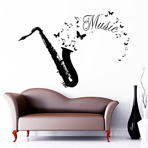 """Wandtattoo-Loft """"Saxophone mit Schriftzug: Musik, Schmetterlinge und Noten"""" - Wandtattoo / 49 Farben / 4 Größen/schwarz / 80 x 115 cm"""