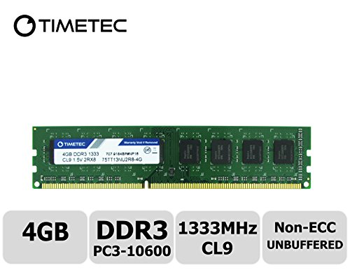 Timetec Hynix IC DDR3 1333MHz PC3-10600 Unbuffered Non-ECC 1.5V CL9 2Rx8 Dual Rank 240 Pin (4GB)