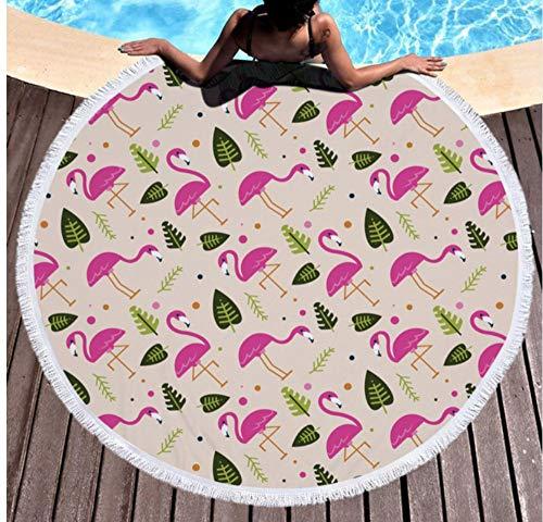 Zomer Mode Flamingo Gedrukt Ronde Strandhanddoek Met Kassen Microvezel Picknick Mat Badhanddoek Voor Vrouwen Diameter 150x150cm Outdoor