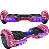 Emaxusa Hoverboard Self Balancing Scooter 6.5' Two-Wheel Hoverboards with Bluetooth Speaker and LED Lights Electric Scooter for Kids and Adult, UL Safety Certified (Pink)