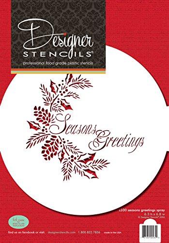 Designer Stencils Plantilla C330Seasons Greetings Spray para Decorar Tartas, Color Beige/Semitransparente
